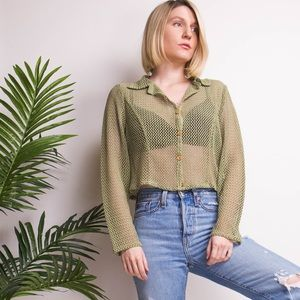 Vintage Y2K green fishnet knit cropped blouse top